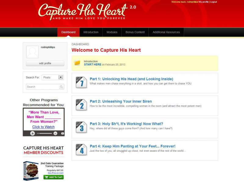 "This is the Capture His Heart ""dashboard"" which you see when you sign in."